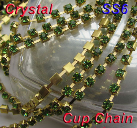 SS6 2mm Light Green Color Rhinestone Chatons Gold Plated Cup Chain 4.4 meters/lot Crystal Strass Mesh Trim DIY Phone Decoration(China (Mainland))