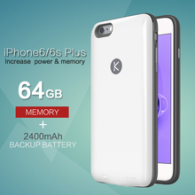 KUNER 2400mAh Ultra Slim Extended Battery Case & 64G Memory Power Bank Fits for Apple iPhone 6/6S plus 5.5inch HU809