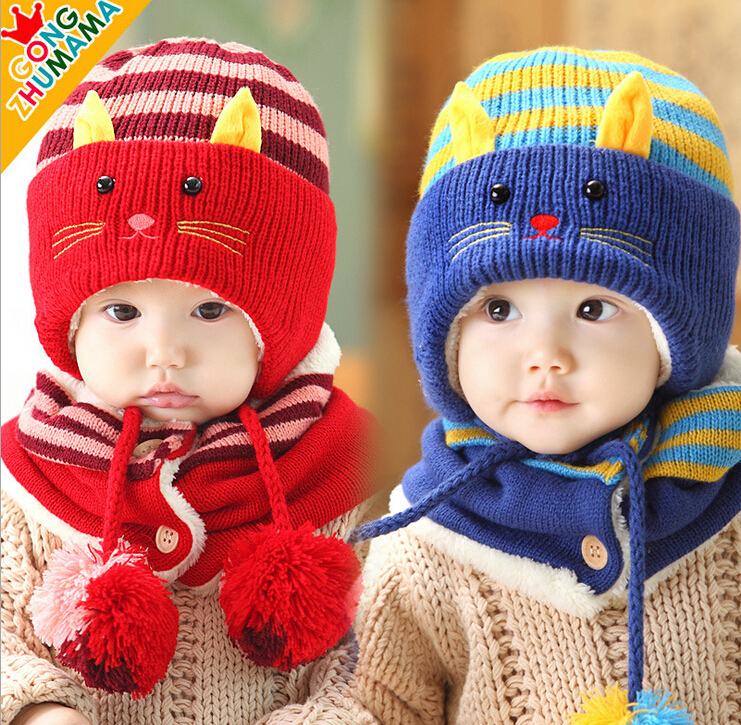 wholesale 2015 new arrival winter baby hat scarf sets Children's hat two-piece cartoon babygirls and boys hat scarf set CH61(China (Mainland))