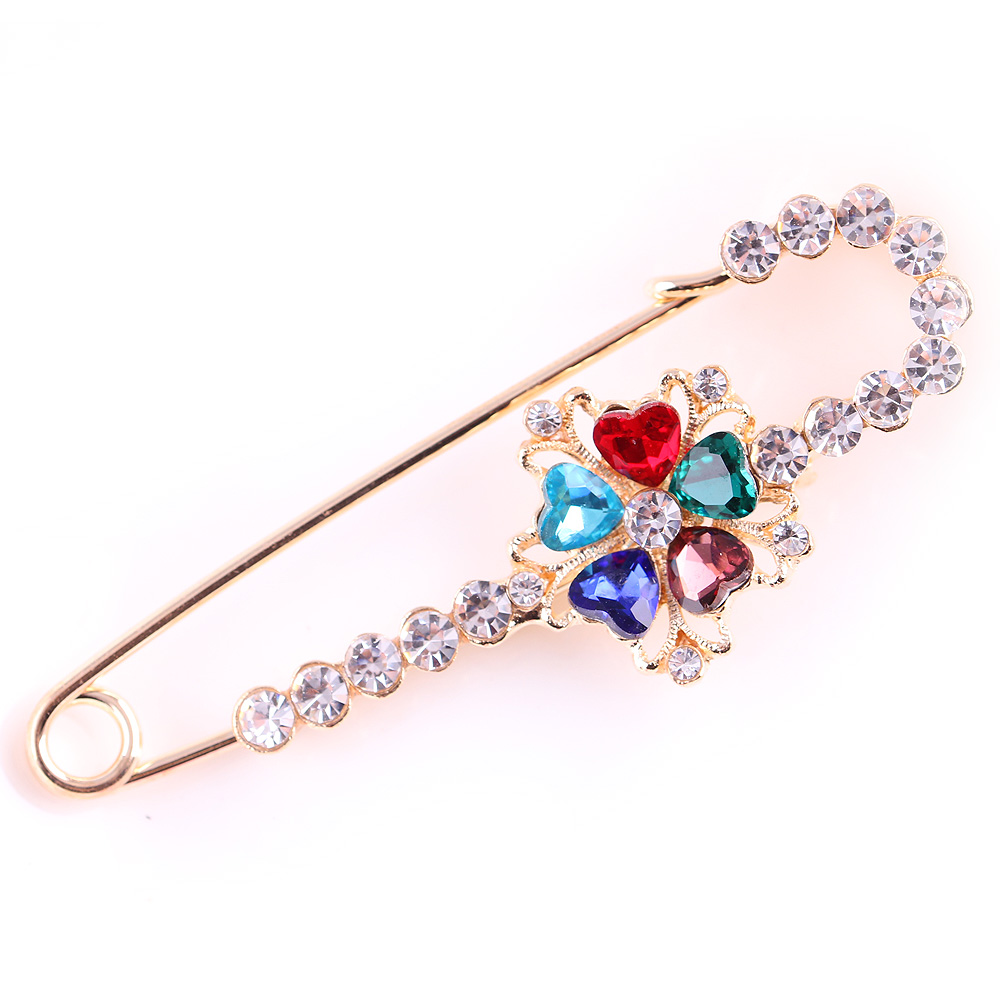 High Quality Safety Pins for women Gold Brooches for wedding/party dress Scarf pins Multi Crystal Rhinestone wild brooch pins(China (Mainland))
