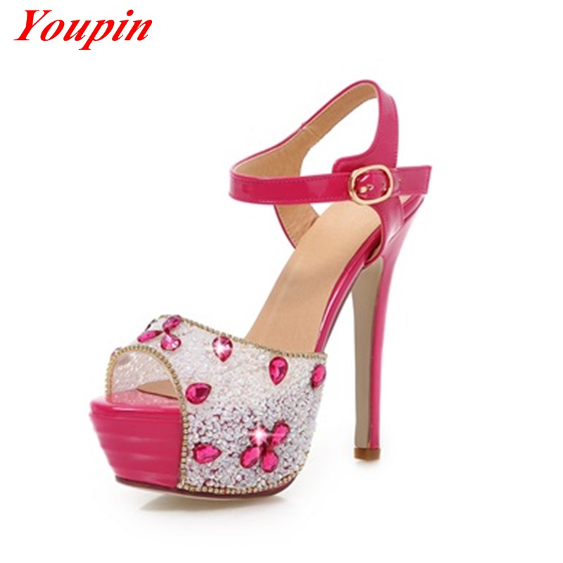 2015 spring and summer fashion brand diamond high-heeled sandals sexy woman pointed fish mouth sandals elegant style size 34-39