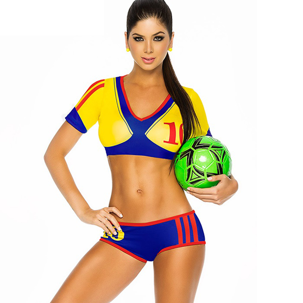 Colombia Sexy Cheerleader Costume Soccer Cheerleading Uniforms Costumes for Womens Football Baby Sexy Sport Costume Set Colombia(China (Mainland))