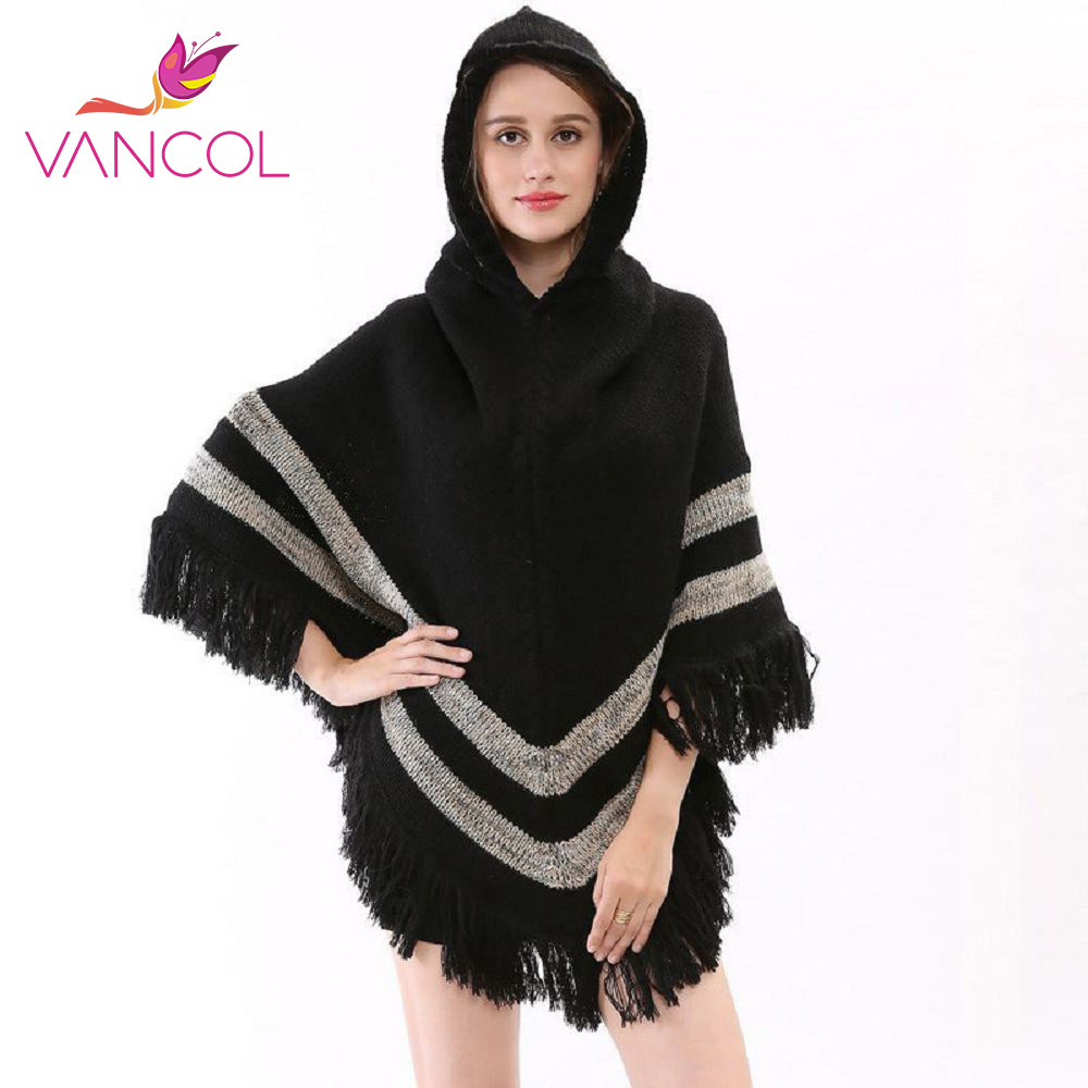Vancol 2016 Poncho Women Winter Wool Tassels Hooded Poncho Pashmina Blanket Ladies Beige Black Top Quality Winter Women Poncho(China (Mainland))