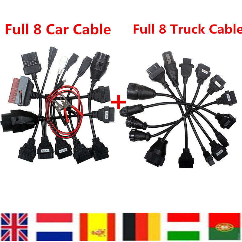 Free Shipping Full 8 Car Cables Plus Full 8 Truck Cables OBD Connect Cable