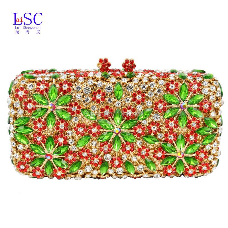 LaiSC Fashion luxury women Clutch bags flower evening bags Bridal wedding pochette chain handle Ladies soiree Clutch bag SC065(China (Mainland))