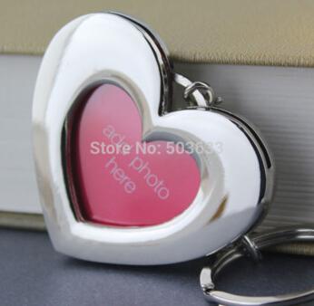 100pcs/Lot Photo Frame Keychain Polished Chrome Romantic Love Red Heart Keyring Car Key Chain Ring Keyfob(China (Mainland))