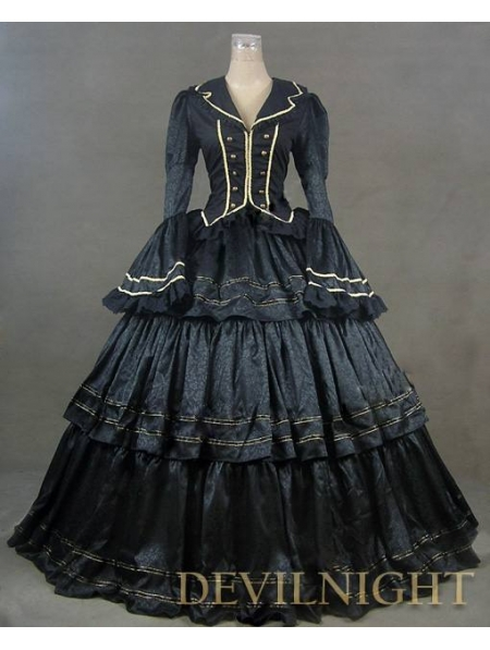 Gorgeous Long Sleeves Black Victorian Ball Gowns Anime