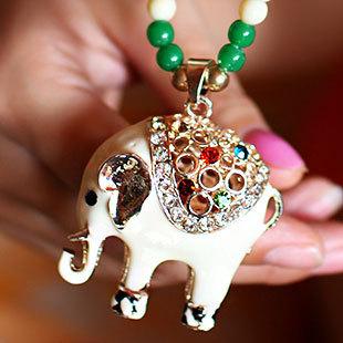 New!!! Fashion Hollow Alloy White Thailand Elephant Amulets Long Necklace Women Gift Charm Jewelery Wholesale(China (Mainland))