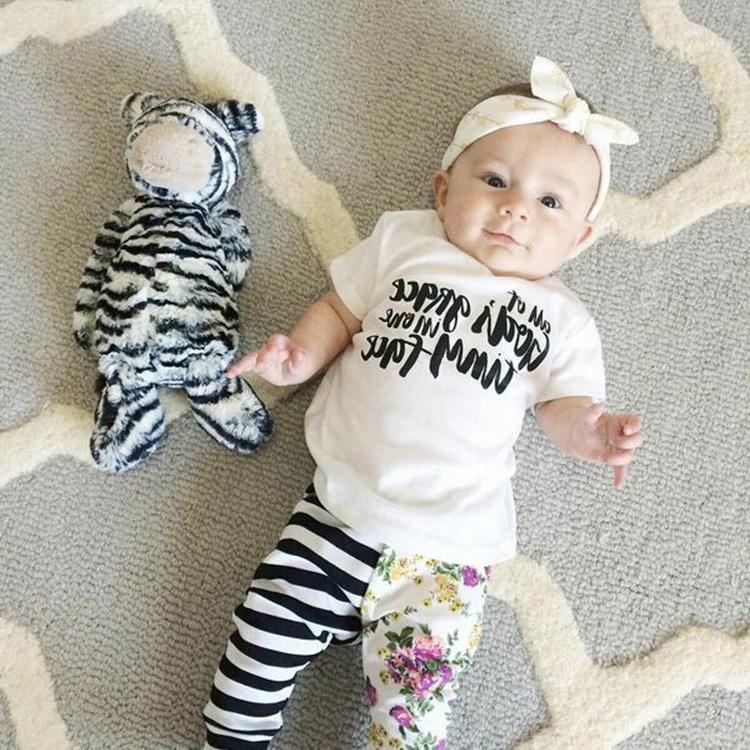 Summer fashion children's clothing baby girl clothes girl T-shirt + striped pants 2 pcs. set bebe kids clothes Cy-166(China (Mainland))