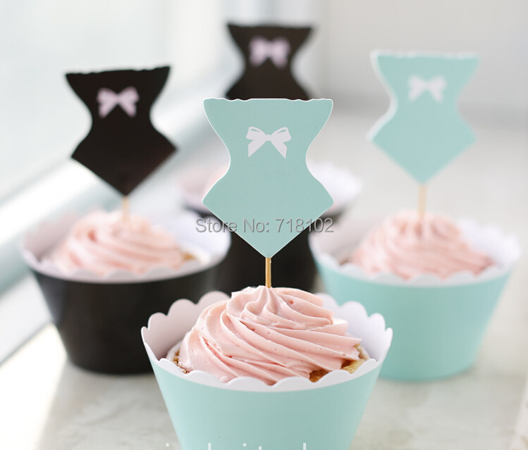 Free Shipping 96pcs/lot Pool Party Favors Sexy Bathing Suit Toppers & Wrappers Cupcake Decoration Blue And Black Mix(China (Mainland))