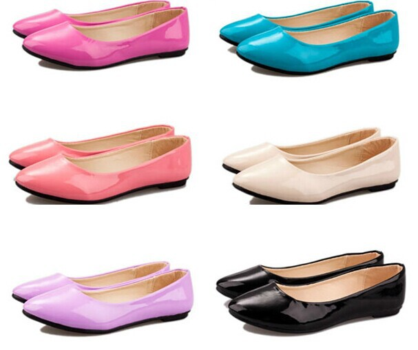 2014 Korean version flat-bottomed tipped candy colors patent leather flat women's shoes - Fashion Store1008 store