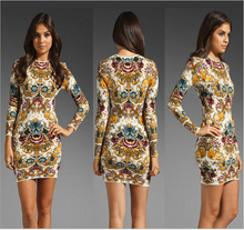 2015 New Arrival Sexy Bodycon Print Women Autumn Dresses Elegant Casual Pattern Floral Long Ladies Clubwear For Party Vestidos