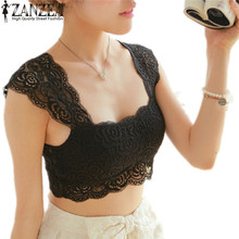 2014 Sexy Full Lace Crochet Pad Crop Hollow Out Soft Vest Bra for Women Fashion Sleeveless Tank Tops Free Shipping