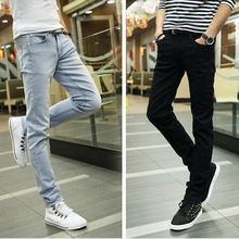 2016 spring and summer new men's jeans pants Korean style influx sky blue casual trousers cool stretch man pants(China (Mainland))