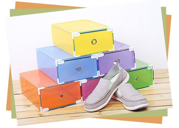 Free Shipping Multicolour DIY Shoebox Transparent Thickening Drawer Shoes Storage Box Plastic Box Increase The Male(China (Mainland))