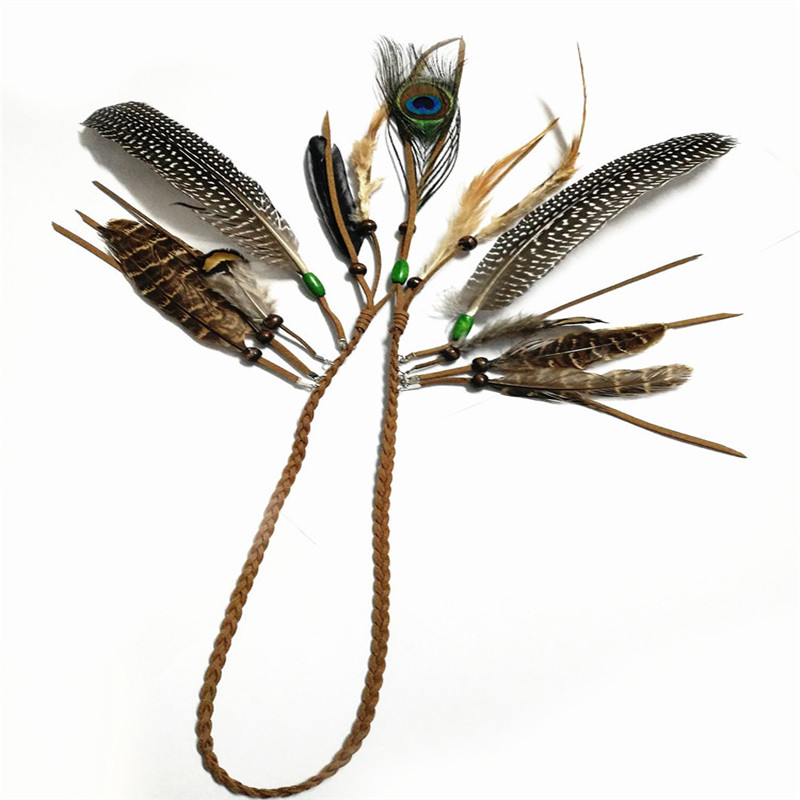 Fashion Indian Hippie Fringed Hair Rope Wooden Bead Peacock Feather Hair Accessories Bohemian National Style Headband 6518202(China (Mainland))