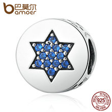 Buy BAMOER Genuine 100% 925 Sterling Silver Blue Faith Round Charms fit Bracelets Women Beads & Jewelry Makings SCC105 for $7.38 in AliExpress store