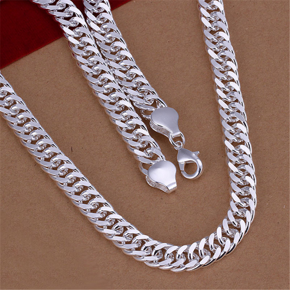 2016 Newest Hot Selling Personality Flat-sided Male Chain Necklace Simple Silver Plated Jewelry High Quality For Men SHAG233(China (Mainland))