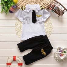 Buy BibiCola 2017 clothes suit children baby boys summer clothing sets cotton kids tie gentleman outfits clothes set suit for $6.95 in AliExpress store