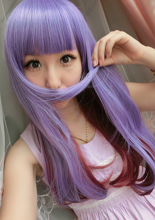 65cm Qi Liuhai long Beautiful Lolita Harajuku wig light purple Gradient wine red Anime cosplay Two tone wig synthetic curly wigs<br><br>Aliexpress