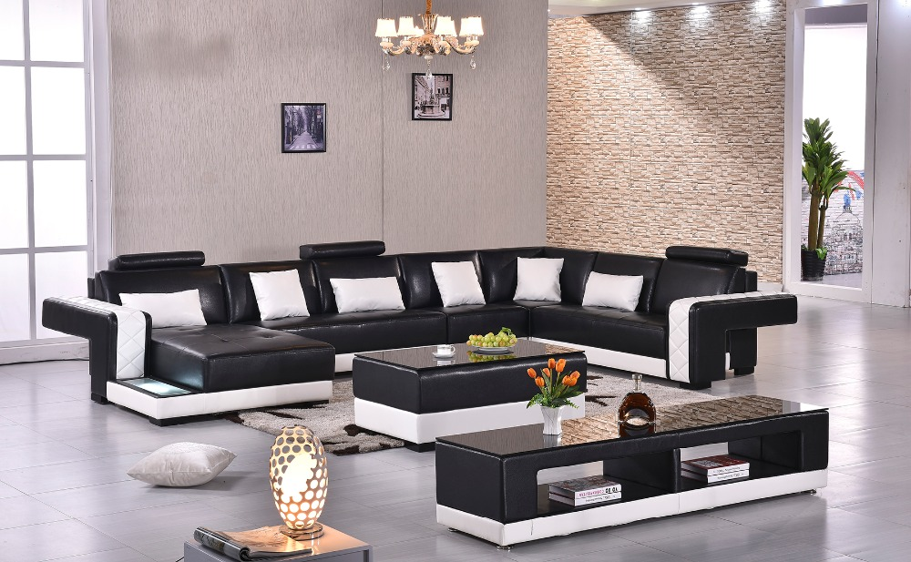 2016 Rushed Sectional Sofa Design U Shape Sofa 7 Seater Lounge Couch Good Quality Cheap Price Leather sofa(China (Mainland))