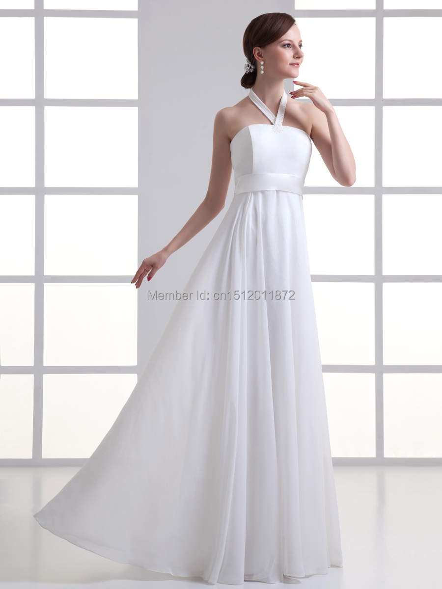 Cheap simple beaded halter white chiffon wedding dress for Wedding dresses boston cheap