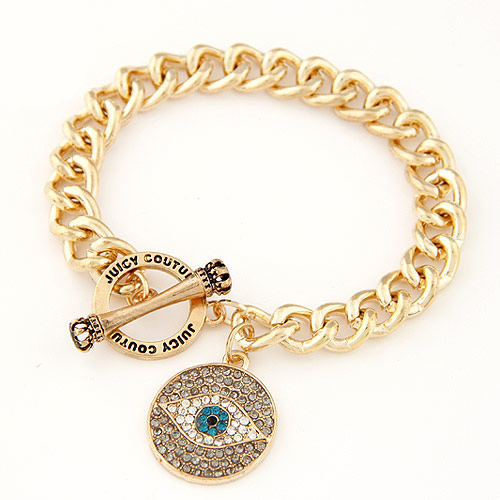 Brand Gold Evil Eye Charm Bracelet Rhinestone Ladies Gold Bracelets Women Men Fashion Jewelry Bijoux Pulsera Mujer Gift PD26(China (Mainland))