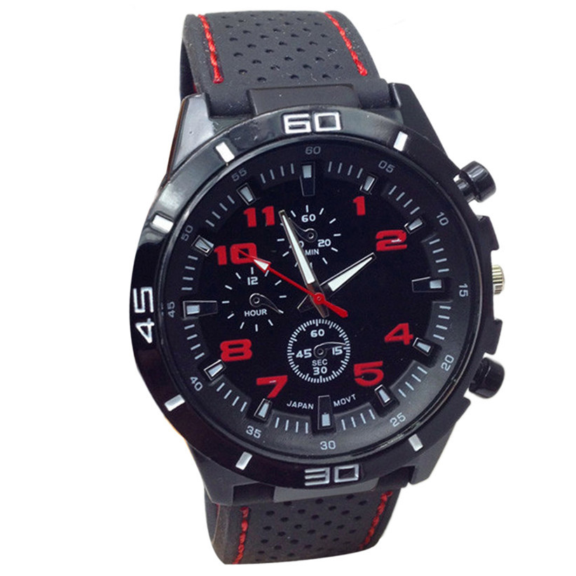 Newly Design 2015 Fashion Hours Quartz Watch Men Military Watches Silicone Sport Wristwatch May28