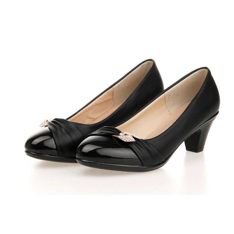 2016 New Spring Work Shoe Women Round Shoes Patent Leather  Low Kitten High Heel Wedge Pumps<br><br>Aliexpress