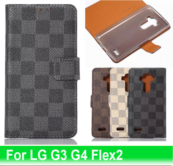 2015 New Hot Top Quality Stand Fashion Card Holder Luxurious PU Leather TPU Flip Cover Case For LG G3 G4 Cases For LG G Flex 2(China (Mainland))