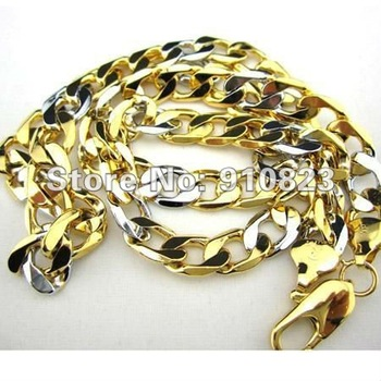 Men's 18K Yellow/White Gold Filled Necklace Curb Chain GF Jewelry 60cm 9mm Wide