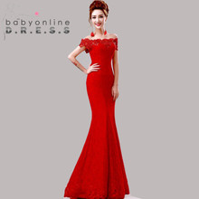 Under $50 Elegant Crystal Beaded Red Royal Blue Lace Mermaid Long Evening Dresses 2016 Prom Party Dress Robe De Soiree Longue(China (Mainland))