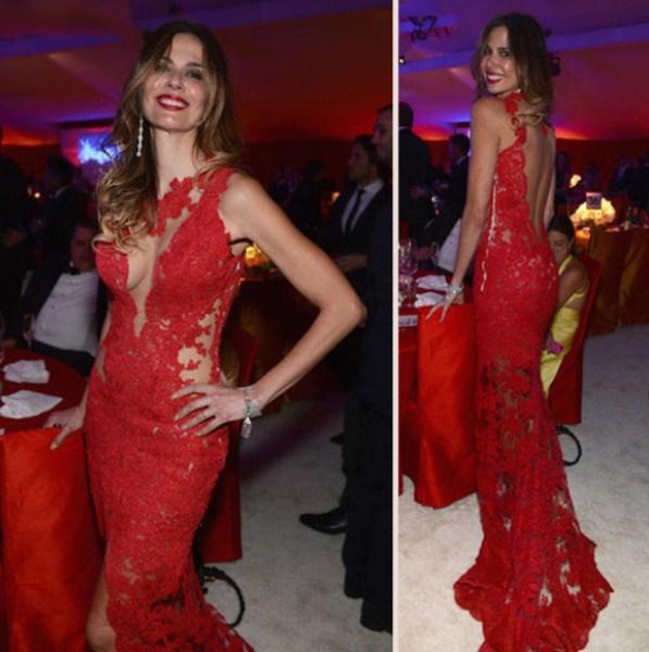 Sexy Dentelle Sirène Celebrity Robes Sheer Dos Nu Oscar Jennifer Lopez Tapis Rouge Robes de Split