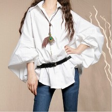 BOSHOW Brand Original Design Spring Autumn White Cool Loose Long Lantern Sleeve Women Casual 100% Cotton All-Match Shirt
