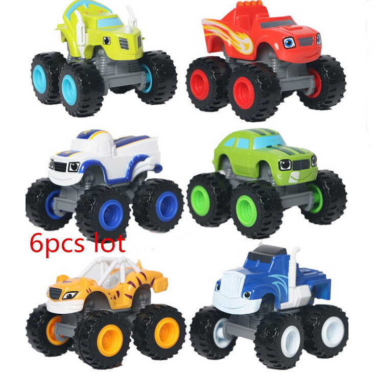 2016 6pcs/set Blaze and the Monster Machines transformation Vehicles Car toys Russian Blaze Crusher Truck Figure Gifts For Kids(China (Mainland))