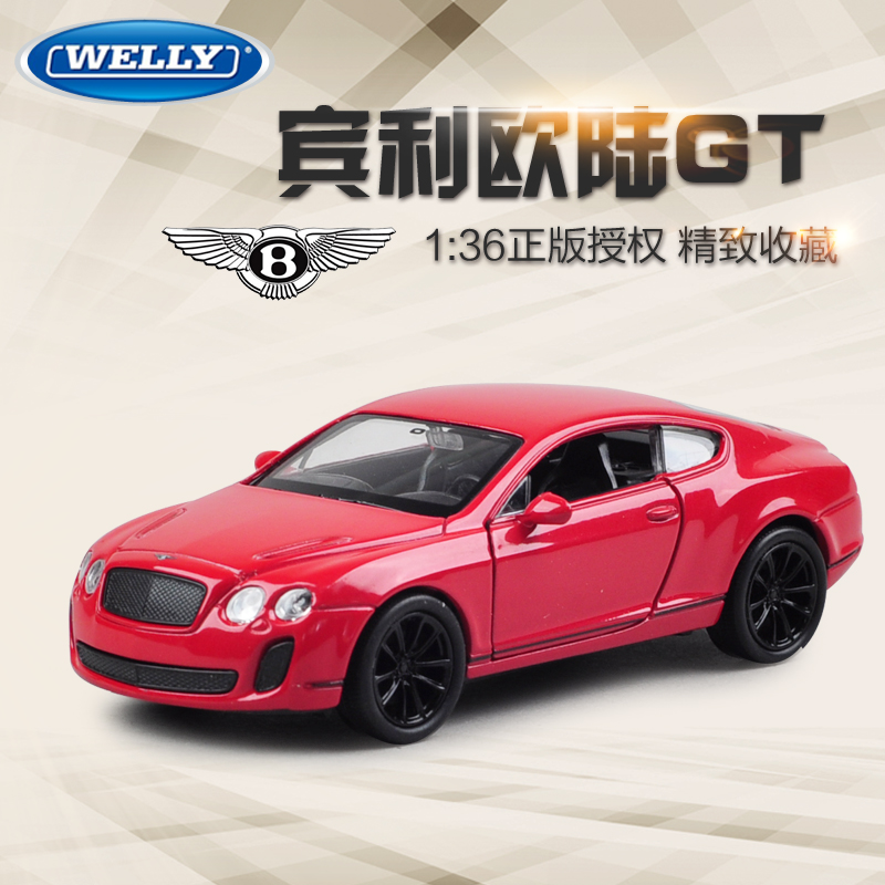Brand New WELLY 1/36 Scale Pull Back Car Toys Bentley Continental GT Classical Diecast Metal Car Model Toy For Gift/Kids(China (Mainland))