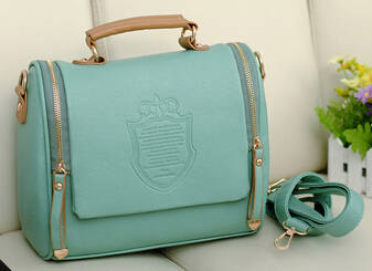 Quality PU leather women bag simple wild handbag New England crown shoulder messenger bag retro package large capacity