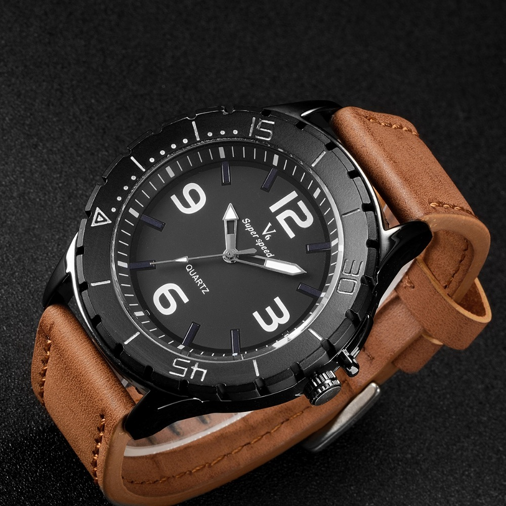 Fashion Casual Mens Watches V6 Luxury Brand High Quality Leather Quartz WatchMen Sports Waterproof Wristwatch Relogios Masculino(China (Mainland))