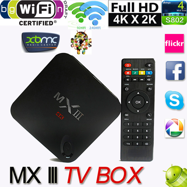 Media Player support 4K XBMC DLNA Miracast Airplay Wifi Android 4.4 TV Box Quad Core Mali450 GPU 1G/8GB - Shenzhen Jrecam technolog Co.,LTD store