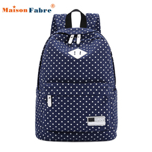 Brand new 2015 fashion women girls Canvas Backpack Polka Dot School Shoulder Bag Travel Rucksacks Gift 1 pcs(China (Mainland))
