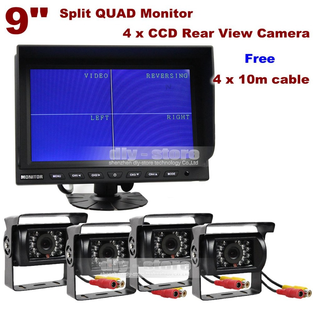 9 Inch Split Quad Display Rear View Monitor Car Monitor + 4 x CCD IR Night Vision Rear View Camera Waterproof For Car Truck Bus<br><br>Aliexpress