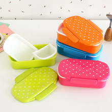 Japan Style Plastic 2016 Bento Rilakkuma Single Dot Dunk Microwave Small Lunch Box Candy Color Children Boxes Of Food Grade