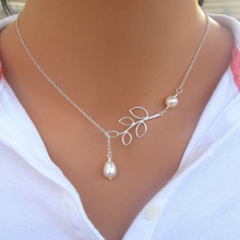 2015 Women Fashion Jewelry Korean Leaf Drop Pearl Pendant Clavicle Chain Necklace