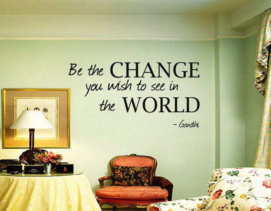 Art Lettering Removable Be the Change Gandhi-Art wall sticker decal decor quote lettering home decoration living room bed room(China (Mainland))