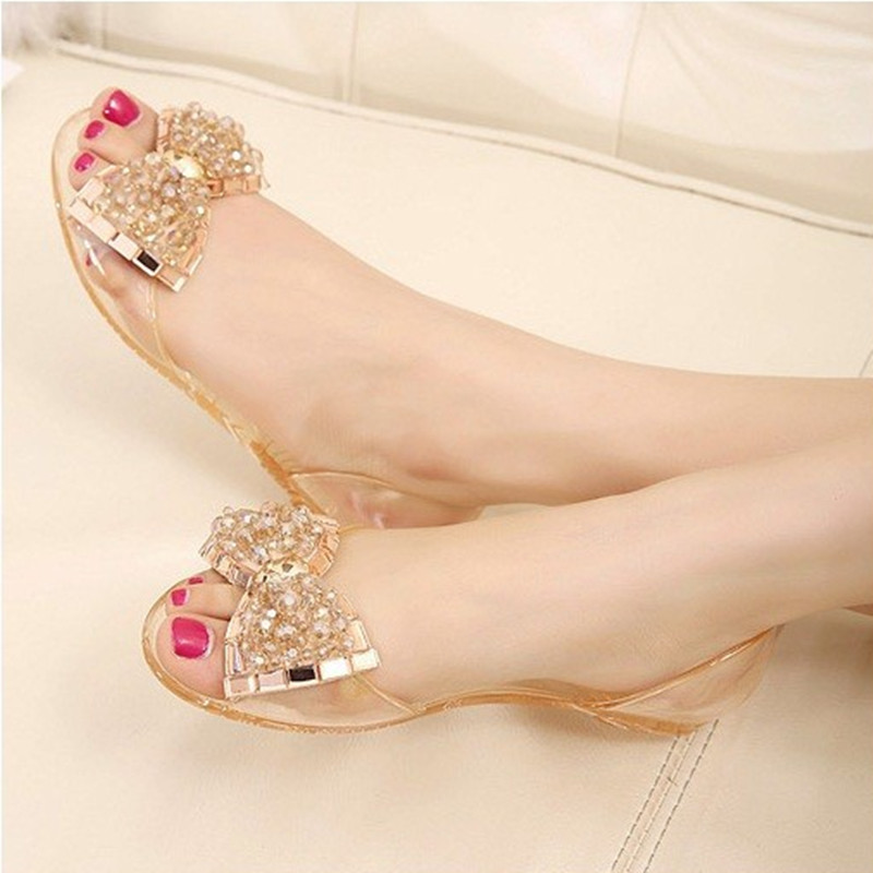 2016 Fashion Melissa jelly Rhinestones Flip flops bow Glitter sandals women'sTransparent flat Single shoes in Gold/Black/Clear(China (Mainland))