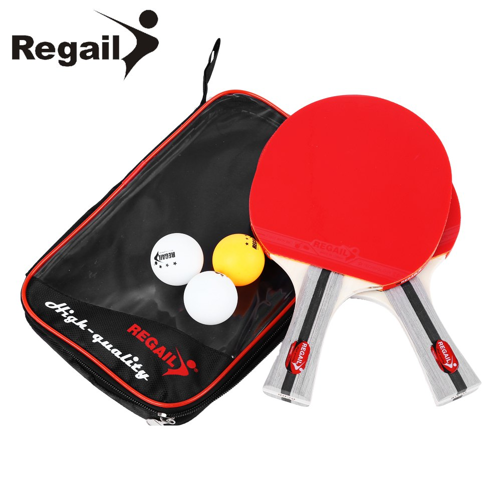 REGAIL 8020 Table Tennis Racket Heavy Handle Ping Pong Racket Two Shake-hand Grip Bat Table Tennis Paddle Three Balls Light Tip(China (Mainland))