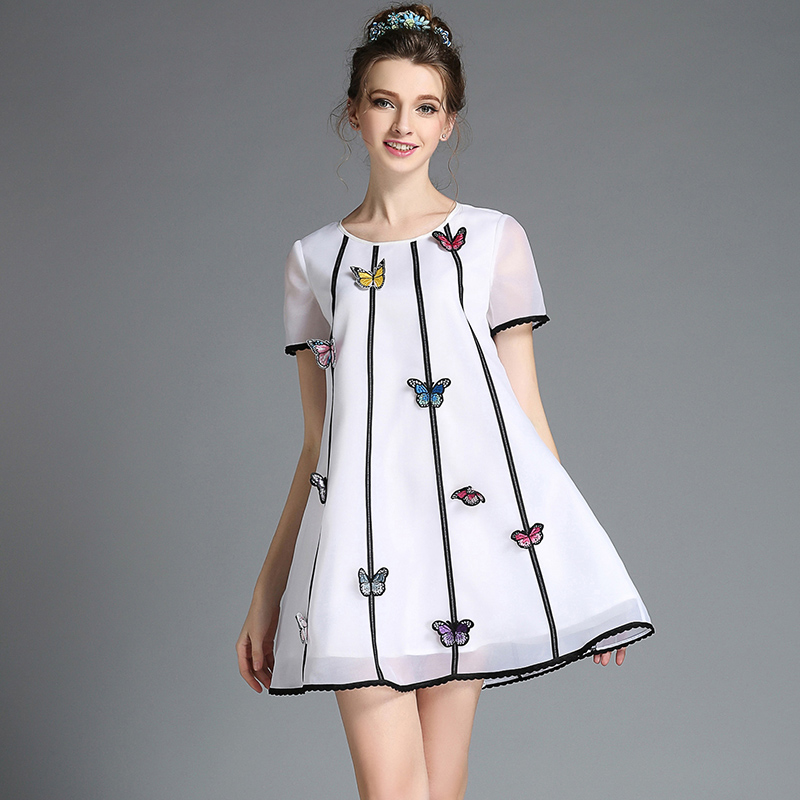 Women Cute Plus Size Butterfly Embroidery White Summer Casual Organza A Line Day Dress s-5xl(China (Mainland))