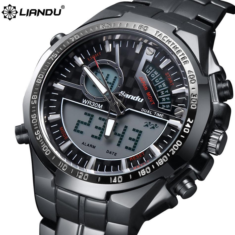 LIANDU Brand Military Watch Men's Running quartz Analog Digital Reloj Full Steel Waterproof Digital LED Watch relogios masculino(China (Mainland))