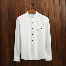 The New Arrival Fashion 2015 High Quality Brand Casual Dress Shirt Men's Leisure Pure Color Long Sleeve Shirt Men