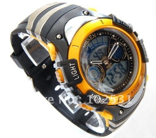 Fast Shipping Fashion Digital Sports Yellow Color Led Dispaly Men's Military Watch